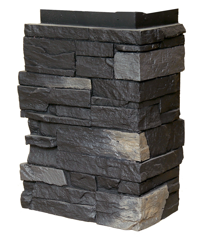 NextStone Country Ledgestone Faux Polyurethane Stone Outside Corner - Andean Onyx - 4 Pack