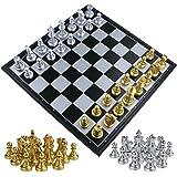 """Fixget Juego de Ajedrez-12.6""""x12.6"""" Set De Imitativo Juego De Mesa De Ajedrez con Portátiles Plegables de Almacenamiento de Viaje de Ajedrez Tablero de Juego (Gold & Silver)"""