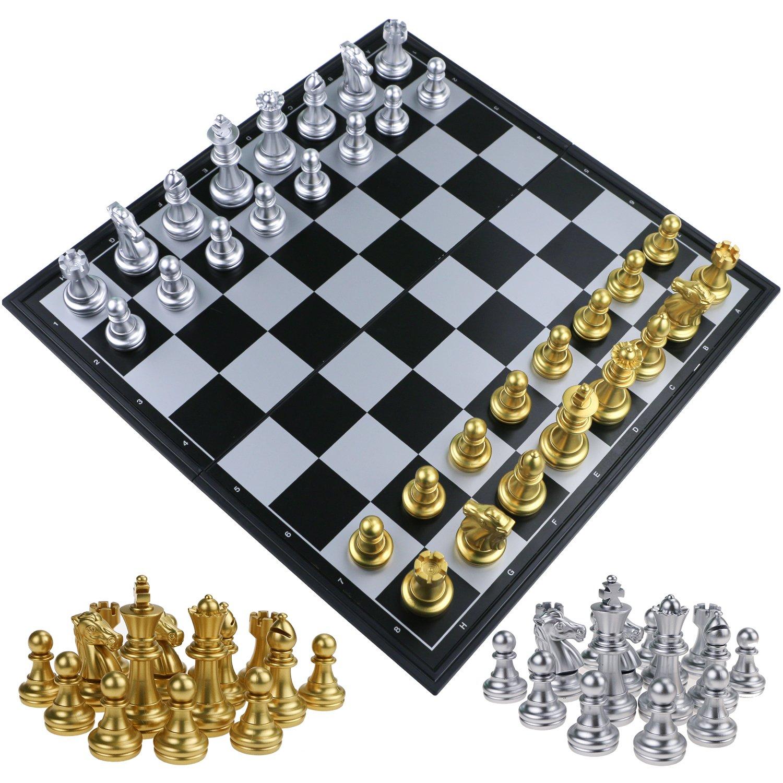 Fixget 2 in 1 Chess Set-12 X12 scacchi in legno e pedine set con portatile pieghevole interno di archiviazione di viaggio scacchi gioco Board Zexuan Direct