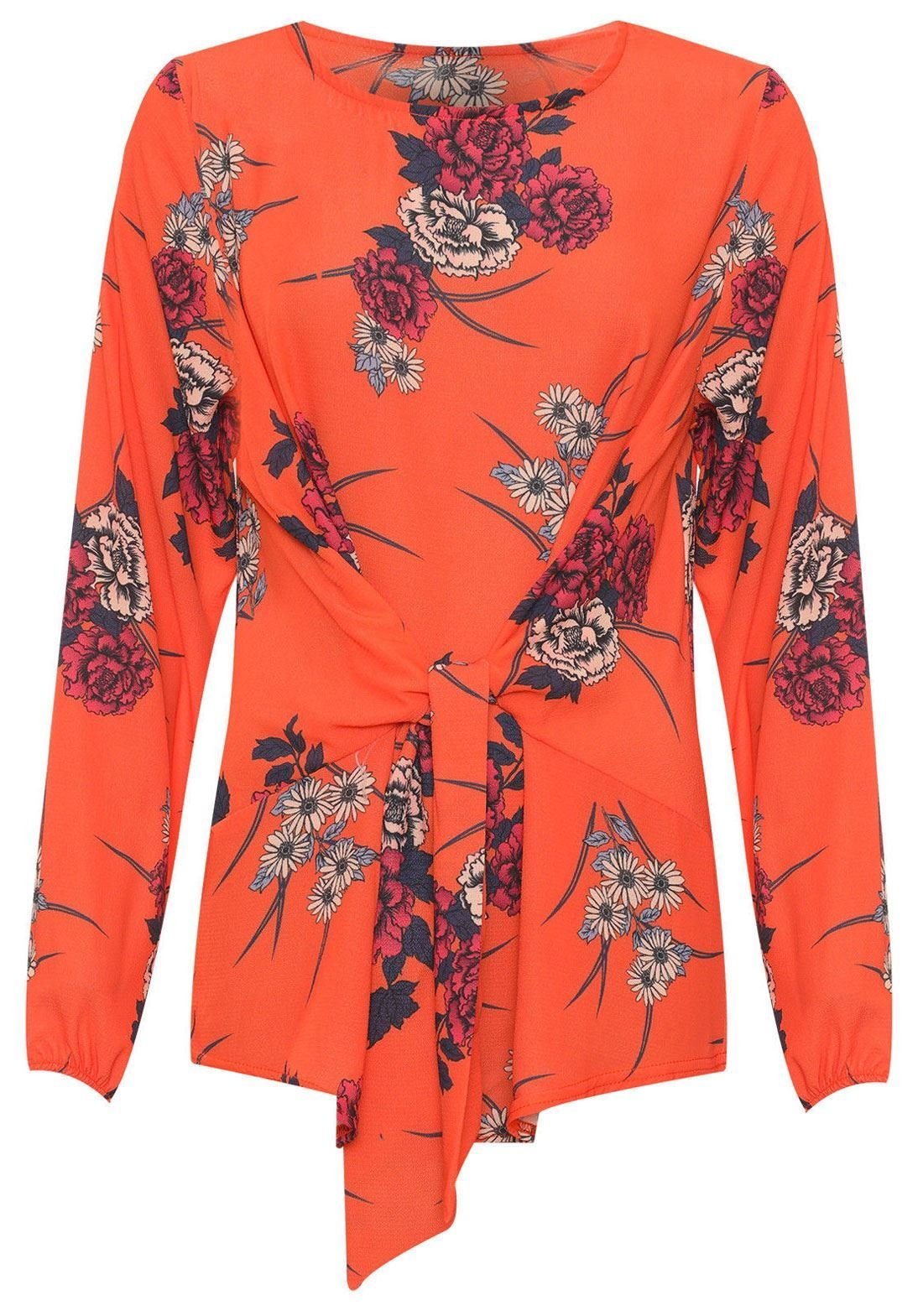 REAL LIFE FASHION LTD Ladies Stunning Floral Print Crepe Long Sleeve Blouse Womens Tied Front Top#(Burnt Orange Floral Print Crepe Top#US 24-26#Womens)