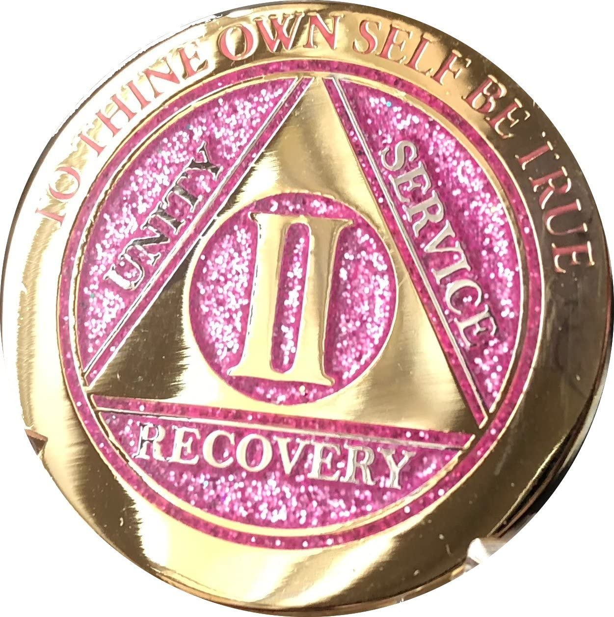 2 Year Elegant Glitter Pink Gold Silver Bi-Plated AA Medallion Chip II