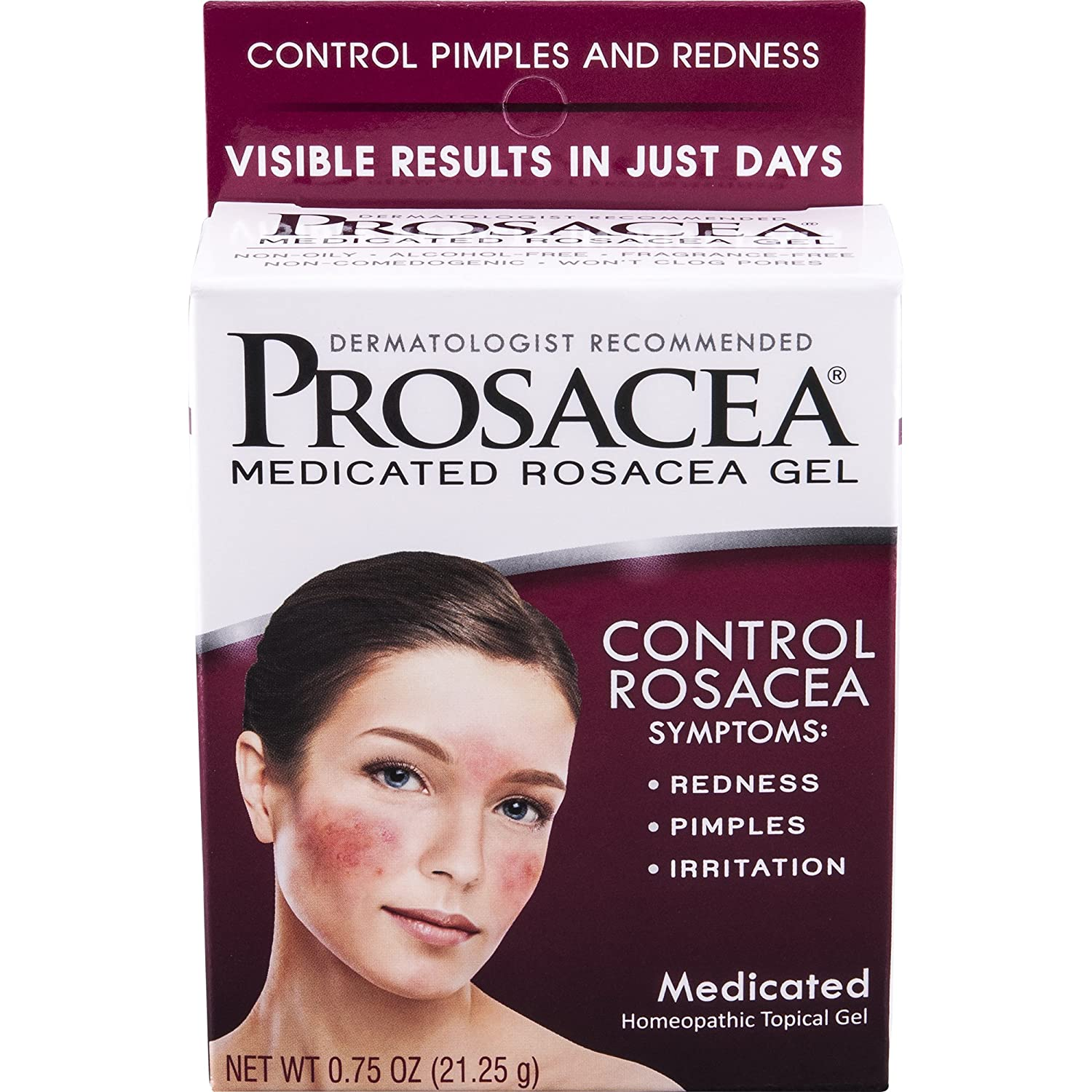 Prosacea—Medicated Rosacea Gel—0.75 Oz Tube—Multi-Symptom Relief of Bumps, Redness & Dryness from Rosacea—Calms and Soothes Skin