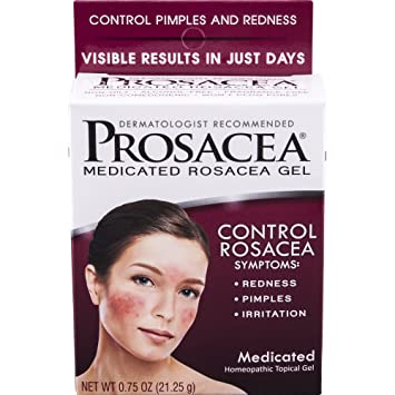 PROSACEA Rosacea Treatment Homeopathic Topical Gel, .75 oz (Pack of 4) Yosoo 3 Colors Electric Cleansing Brush USB Pore Cleaner Waterproof Cleaning Face Device, Exfoliating Face Brush, Face Cleansing Brush
