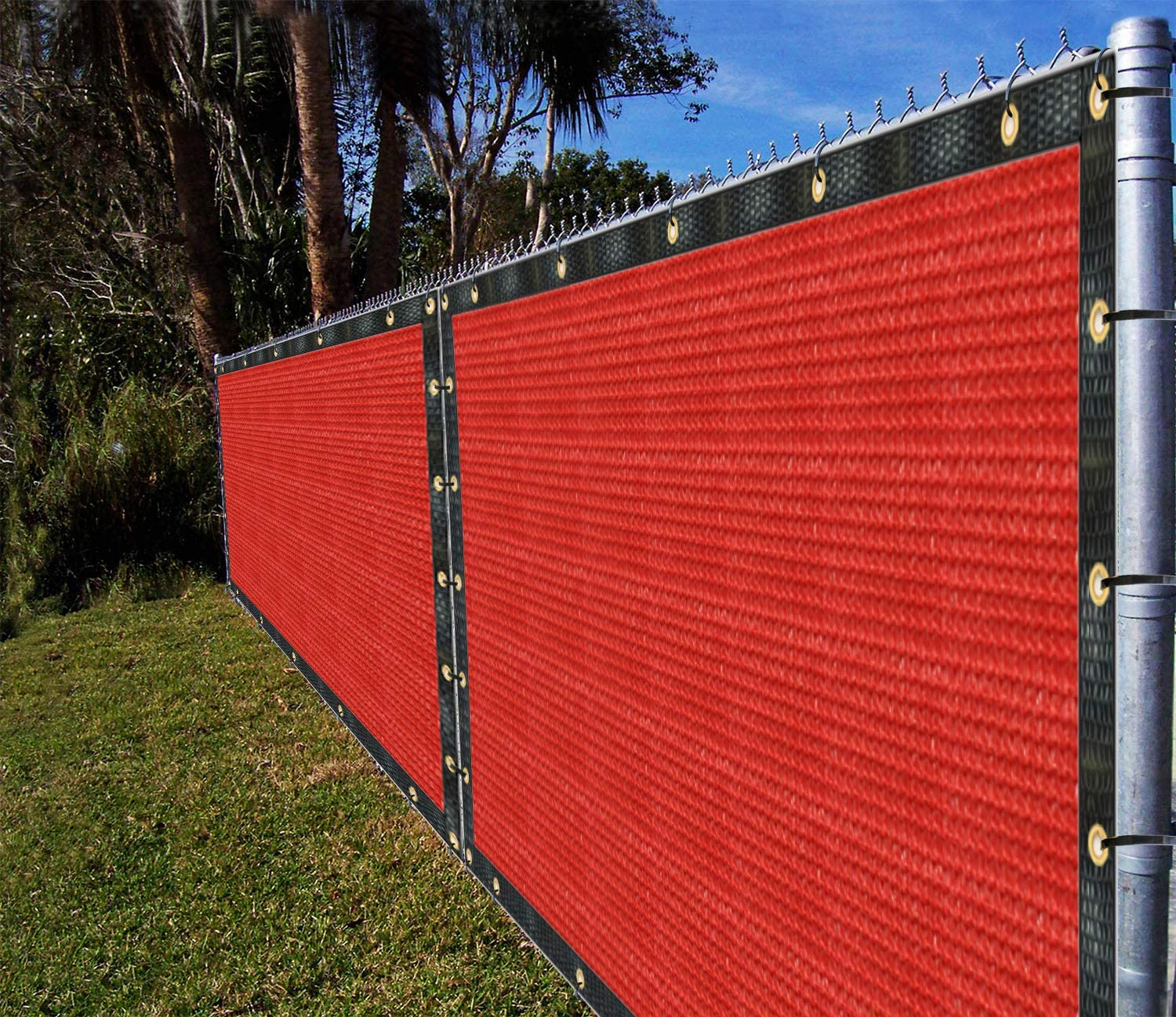 Ifenceview 6'x1' to 6'x50' Red Shade Cloth Panels Fence Privacy Screen Fabric Mesh Net for Construction Site Yard Gate Driveway Garden Railing Pool Balcony Canopy Awning 160 GSM (6' x 55')