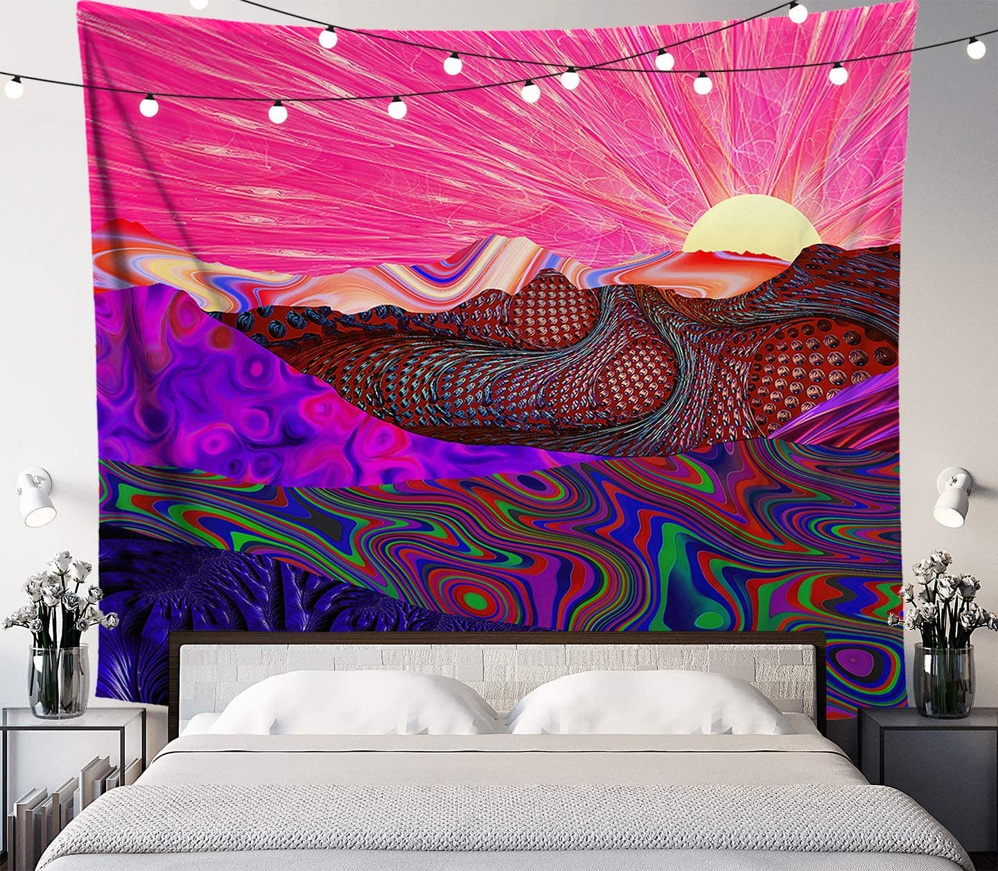 Trippy Trek Tapestry, Psychedelic Mountain Sunrise Wall Hanging for Bedroom Living Room Dorm, 58x51 inches