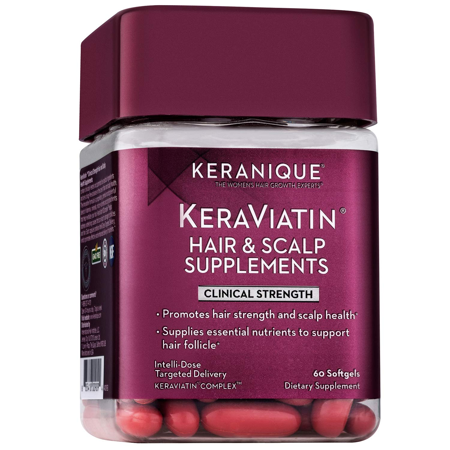 Keranique KeraViatin Hair & Scalp Health Supplement, Clinical Strength, Biotin, Vitamin B, 60 Softgels