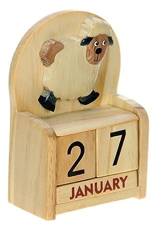 Ewiger Kalender Dauerkalender aus Holz zum Einstellen des täglichen Datums Gr L