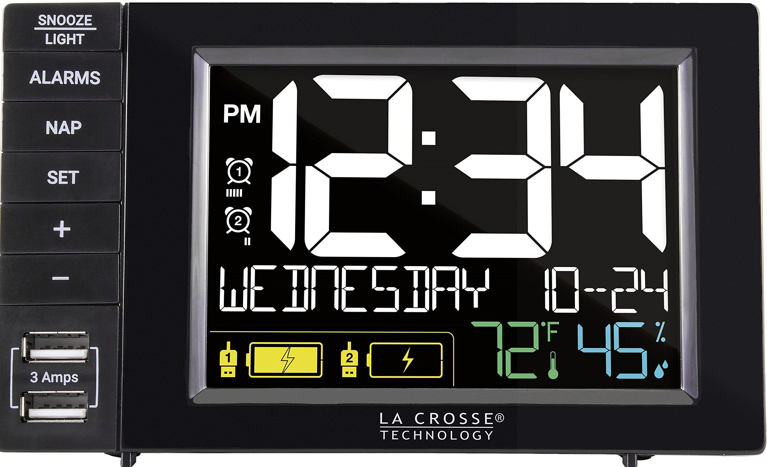 La Crosse Technology Digital Dual Alarm Clock w USB Charging Station with Dual Alarms