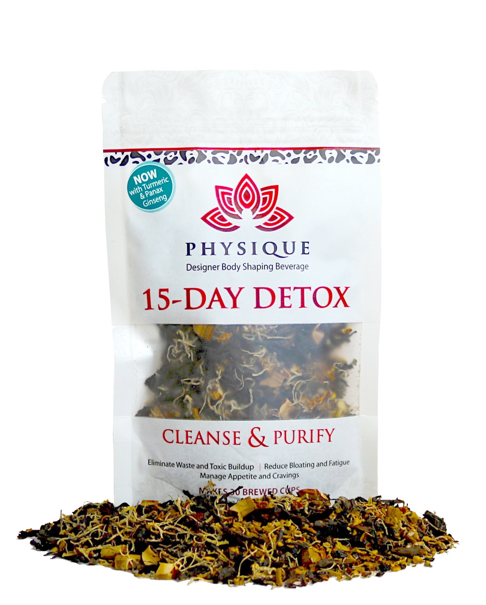 15 Day Total Body Cleanse and Weight Loss Tea | Reduce Bloating, Hunger and a Big Tummy | Garcinia Cambogia & Turmeric Premium Blend | Anti-Inflammatory & Laxative Free Teatox | Detox Diet Included by Physique