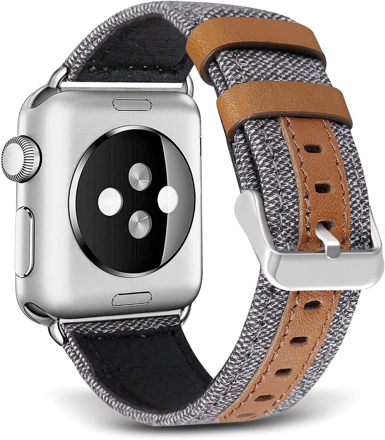 SKYLET Compatible with Apple Watch Bands 44mm 42mm 40mm 38mm Leather Bands, Canvas Fabric Soft Wristbands Compatible with Apple Watch Series 6/5/4/3/2/1/se Men Women Gray