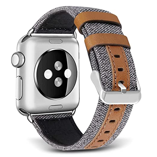 SKYLET Bands for Apple Watch, 42mm Canvas Fabric with Genuine Leather with Metal Clasp for Apple Watch Series 2 Series 1 Series 3 Edition Nike+ (Smart Watch Not Included)[Gray]