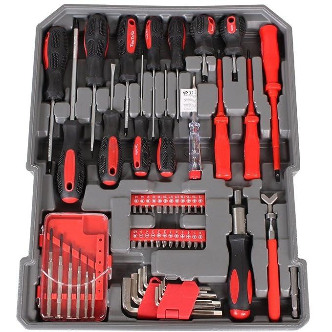 Maletín de herramientas de trabajo, completo con valija trolley portaherramientas de aluminio. Kit de herramientas 15093