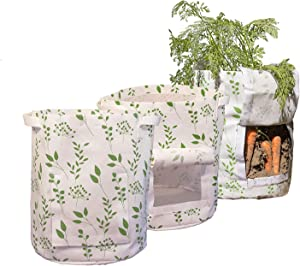 The Light Design Grow Bags 7 Seven gallons Pack of 3, Fabric planters Grow Bags for Vegetables, Potato, Tomato or Carrot Planter for Garden or Patio with Access Flap to The Roots