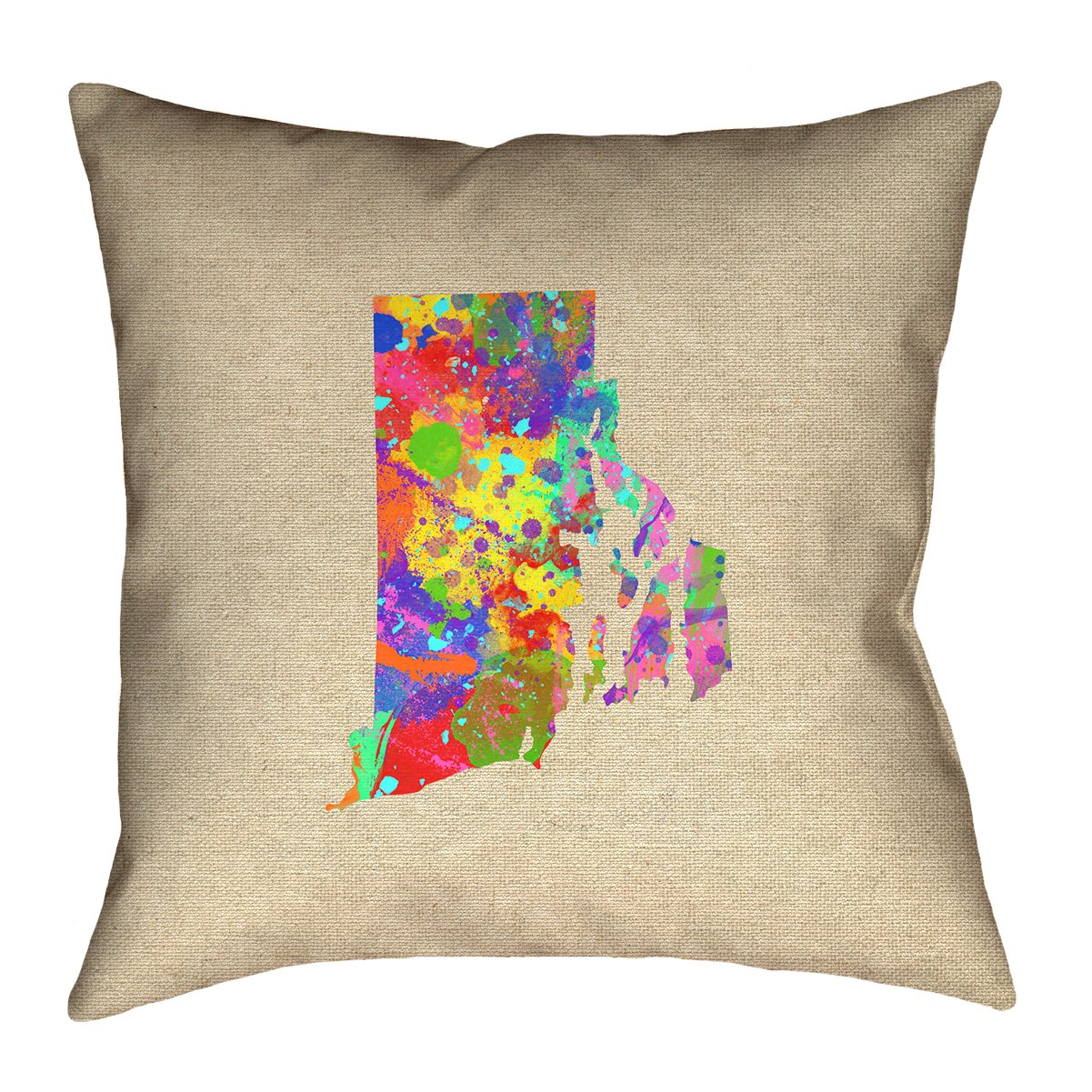 ArtVerse Katelyn Smith 16 x 16 Spun Polyester Double Sided Print with Concealed Zipper /& Insert Rhode Island Watercolor Pillow