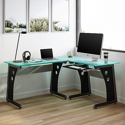 Techni Mobili Deluxe Tempered Frosted Glass L Shaped Corner Desk