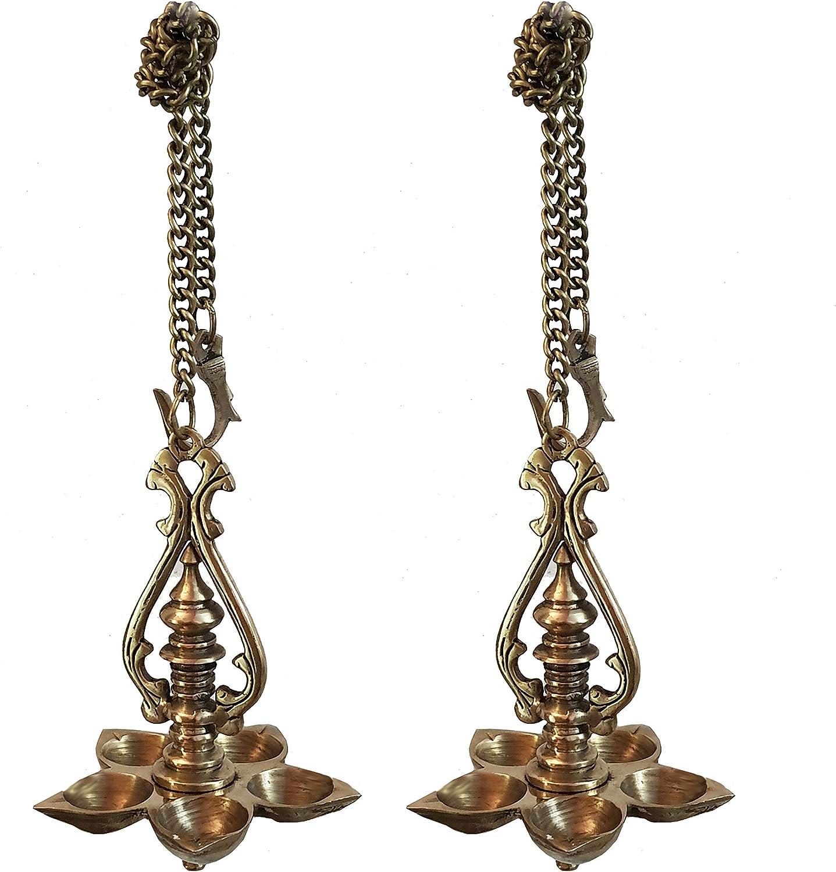 Indian Diwali Oil Lamp Pooja Diya Brass Light Puja Decorations Mandir Decoration Items Handmade Home Backdrop Decor Made in India Decorative Wall Hanging Wicks Diyas Thooku Vilakku Set of 2 - Gold