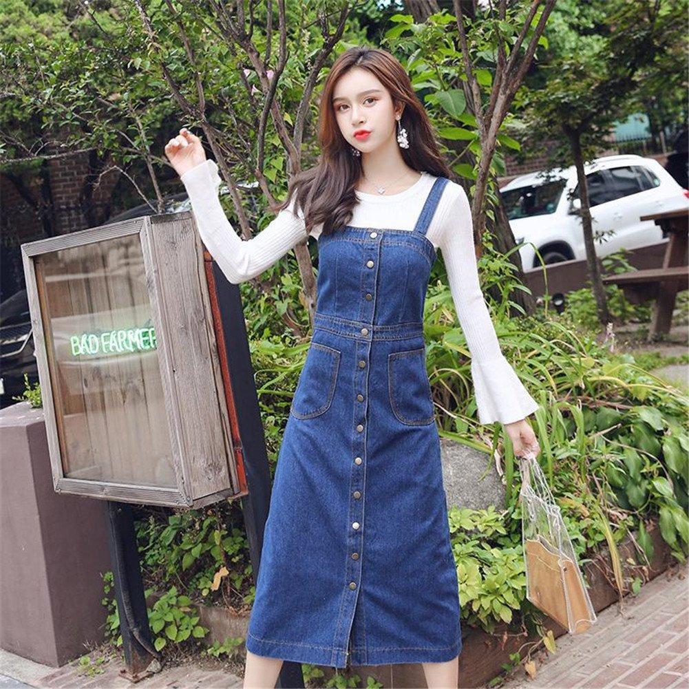 21d79581d86 Drasawee Women Casual Suspender Denim Skirt Long Buttons Overalls Jean Dress  at Amazon Women s Clothing store