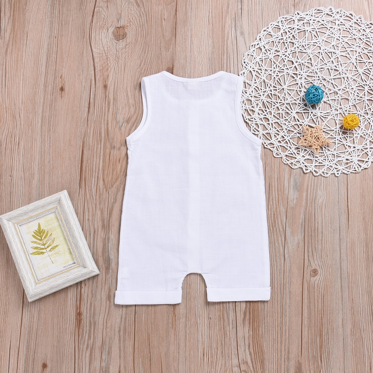 One Piece Outfits Baby Solid White Rompers with Button Kids Sleeveless Playsuit Jumpsuits Pants Cotton Clothing