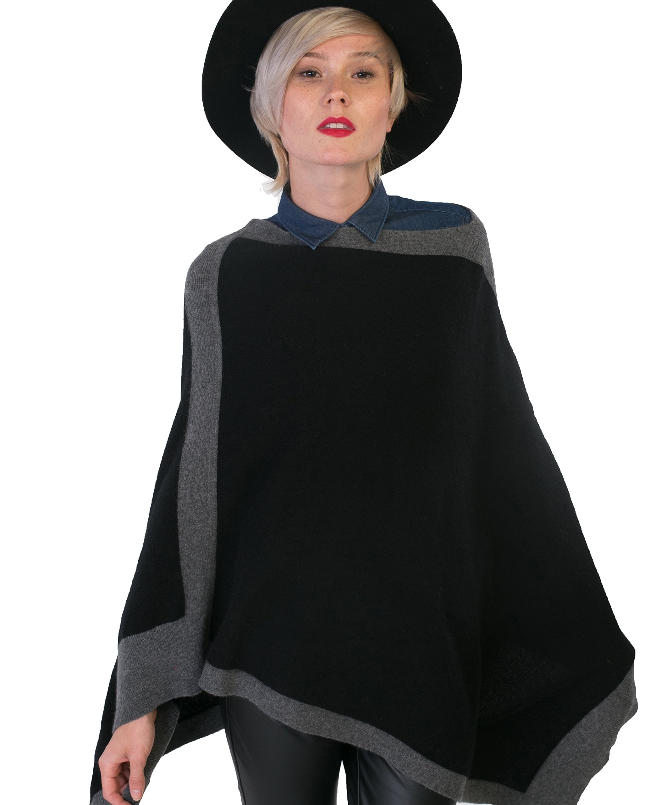 cashmere 4 U Women 100% Pure Cashmere Asymetrical Bicolor Knitted Poncho, Noir With Gris Moyen Border, One Size