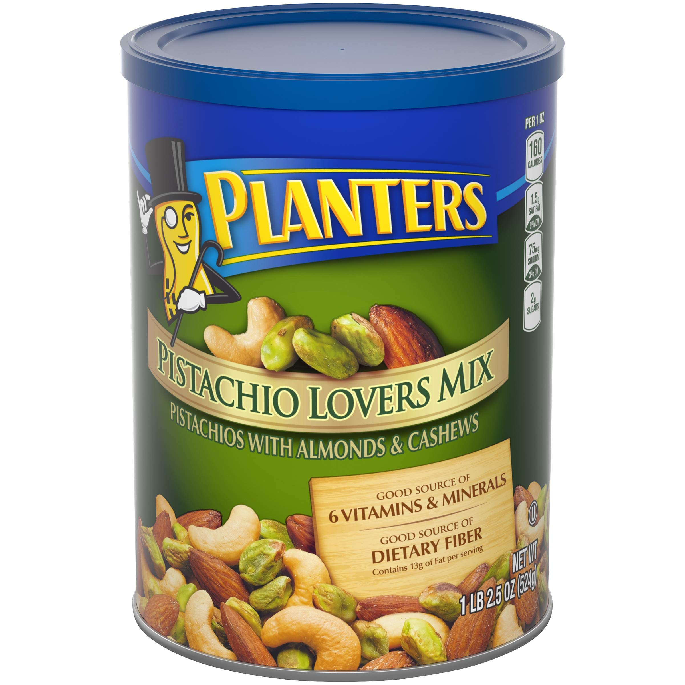PLANTERS Pistachio Lover's Mix, 1.15 lb. Resealable Canister | Deluxe Pistachio Mix: Pistachios, Almonds & Cashews Roasted in Peanut Oil with Sea Salt | Kosher, Savory Snack by PLANTERS