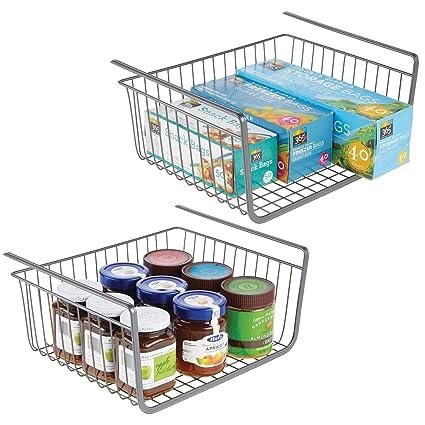 mDesign Juego de 2 estantes de cocina colgantes de metal inoxidable – Cestas metálicas grandes para