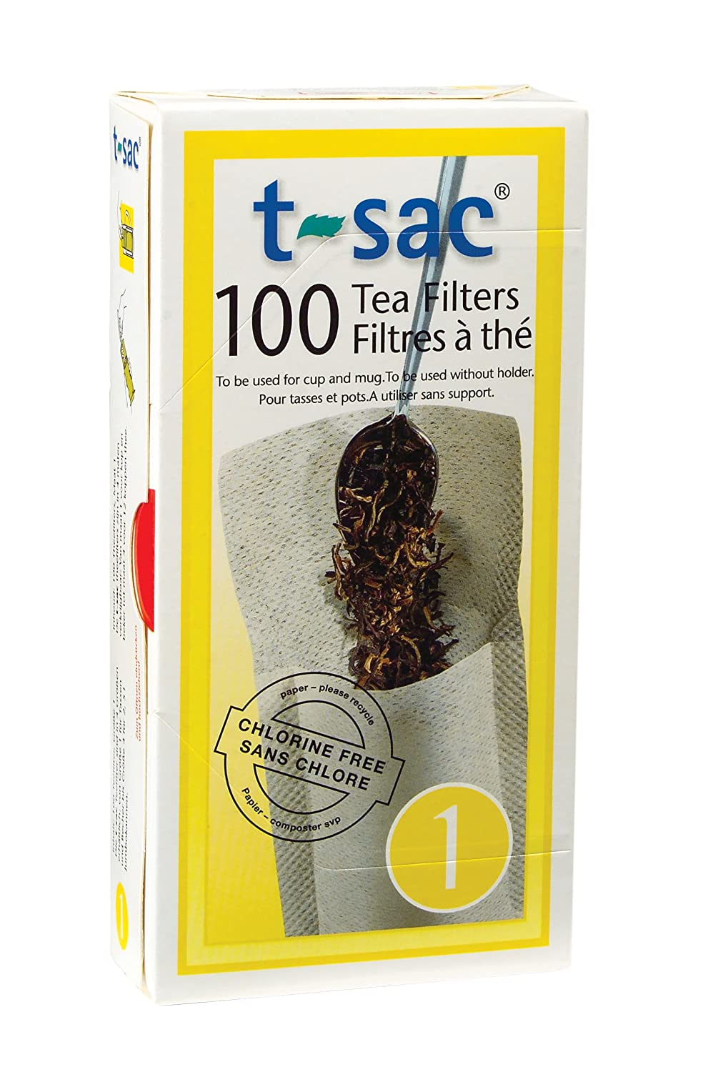T-Sac Tea Filter Bags, Disposable Tea Infuser, Number 1-Size, 1-Cup Capacity, Set of 100 1601