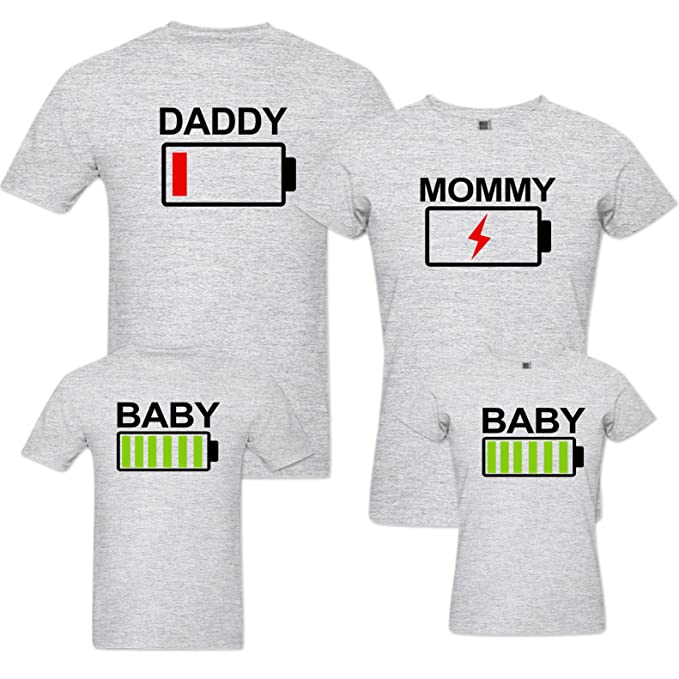 99551b6a5b087 pepperClub Family Tshirt - Battery Low   High - Set of 4 for Mom Dad and  Kids  Amazon.in  Clothing   Accessories