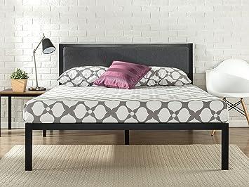 Zinus 14 Inch Platform Metal Bed Frame With Upholstered Headboard /  Mattress Foundation / Wood Slat