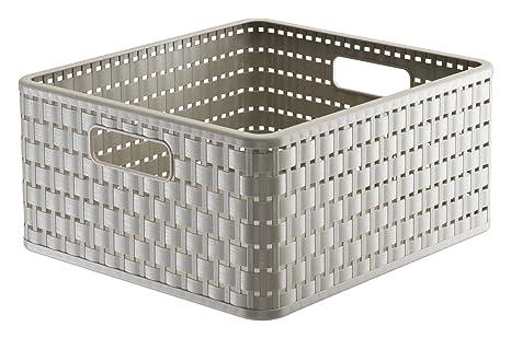Rotho Country - Caja de almacenaje con efecto de mimbre, Beige, A4