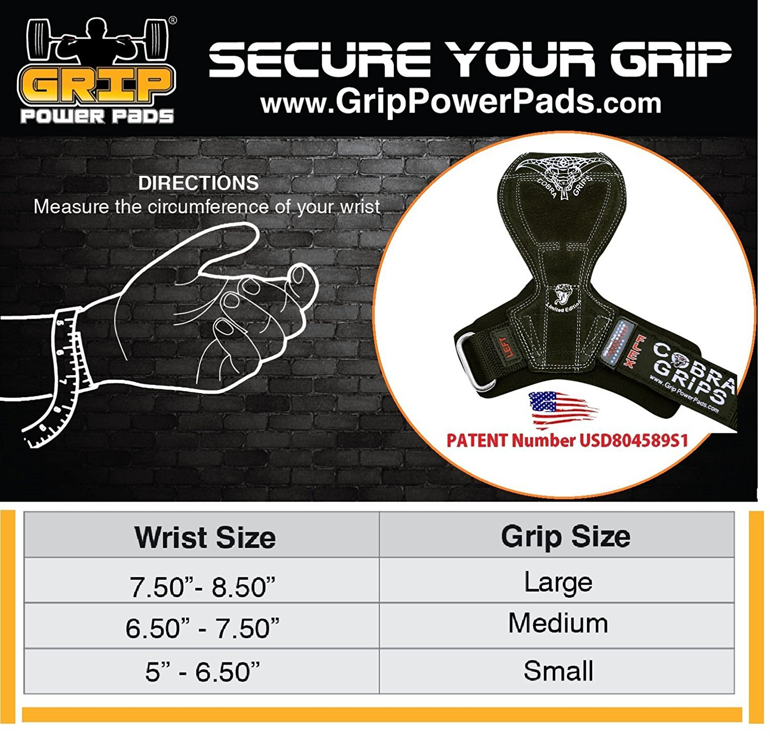 2018 Cobra Grips Flex Model Weight Lifting Gloves Heavy Duty Straps Alternative Power Lifting Hooks Best for Deadlifts with Padded Wrist Wrap Support Bodybuilding (Small, Black Leather) by Grip Power Pads (Image #3)