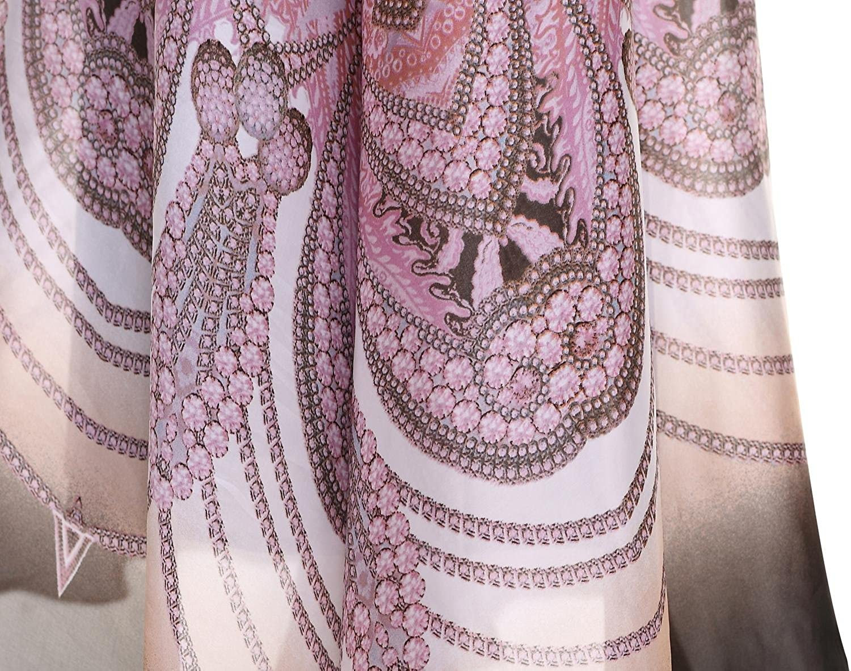 Angel-fashions Women's Halter Bead Chiffon Leopard Printed Ruching Long Dress