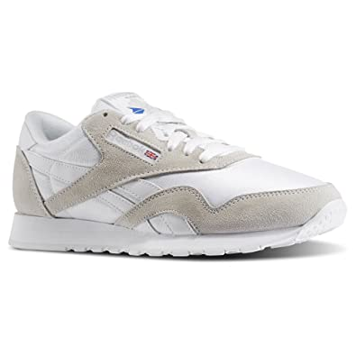 e7ea125d744 Image Unavailable. Image not available for. Color  Reebok Men Classic Nylon  White Light Grey ...