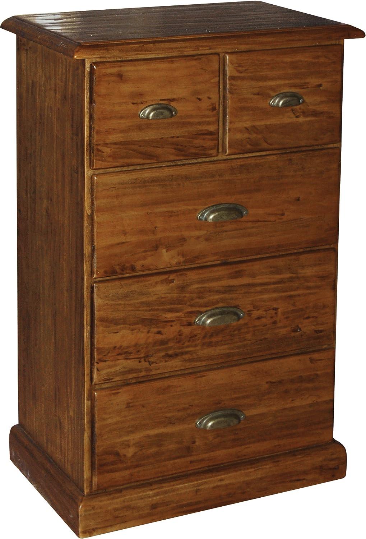 Cajonera COUNTRY de madera maciza de tilo acabado nogal 63 x 41 x 100 cm: Amazon.es: Hogar