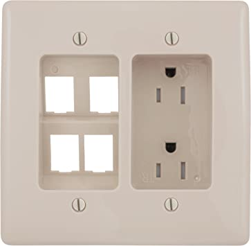 Electric RR1512W 2 Gang Recessed TV Connection Outlet Plate Duplex Receptacle