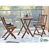 SAM 3-tlg. Balkongruppe Blossom Round, Gartengruppe aus Akazienholz, 1 Tisch + 2 Stühle, FSC Zertifiziert