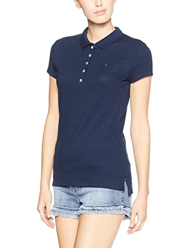Tommy Hilfiger New Chiara Str Pq Polo Ss, Polo da donna, manica corta, collo a polo