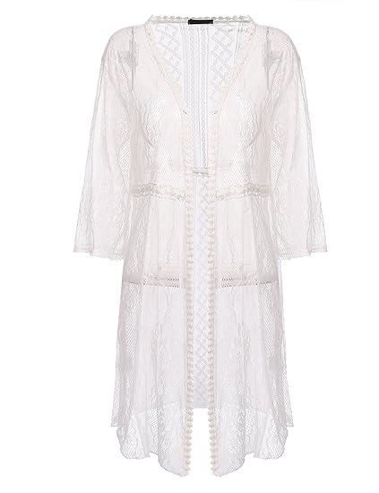 2b9f25603fc Beyove Women Long Sleeve Sheer Lace Crochet Open Front Cardigan Tops