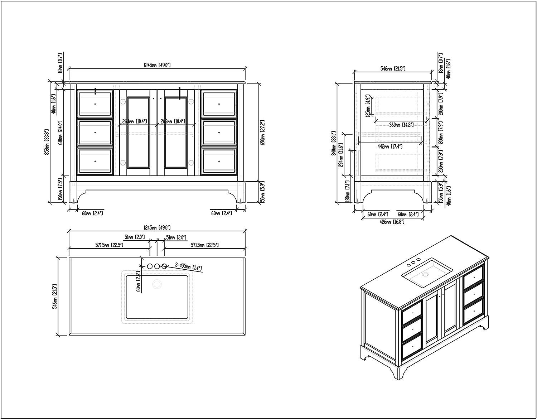 Simpli Home 4AXCVCBW-48 Cambridge 48 inch Bath Vanity in Soft White with Black Granite Top
