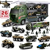 26 in 1 Military Truck with Soldier Men Set, Mini Die-cast Battle Car in Carrier Truck, Army Toy Double Side Transport…