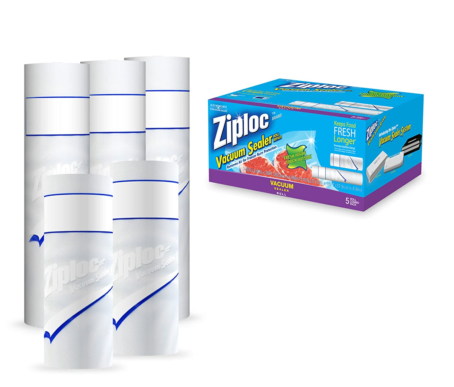 Ziploc ZL1COMBOPK3 Vacuum Seal Combo Pack with Two 8-Inch x 20-Feet Rolls and Three 11-Inch x 16-Feet Rolls