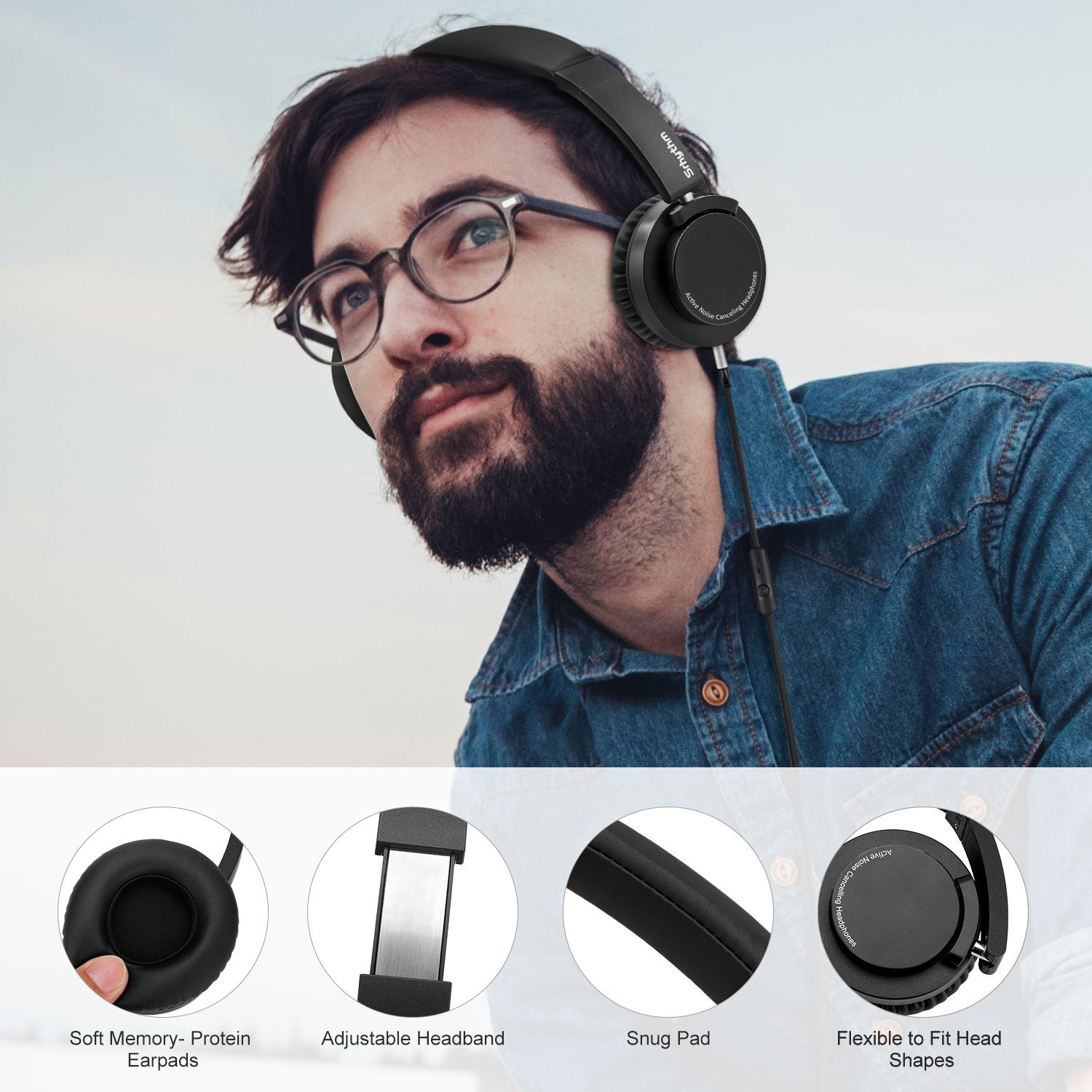 Hi-Fi Stereo Deep Bass Foldable and Lightweight Headphones Multi-Angle Rotation Up to 180 Degree with Carring Bag Active Noise Cancelling Headphones,Srhythm Wired On-Ear Headset with Microphone