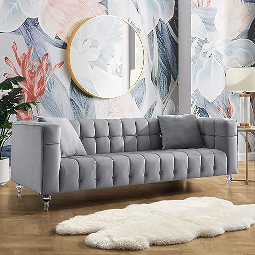 Inspired Home Velvet Grey Sofa