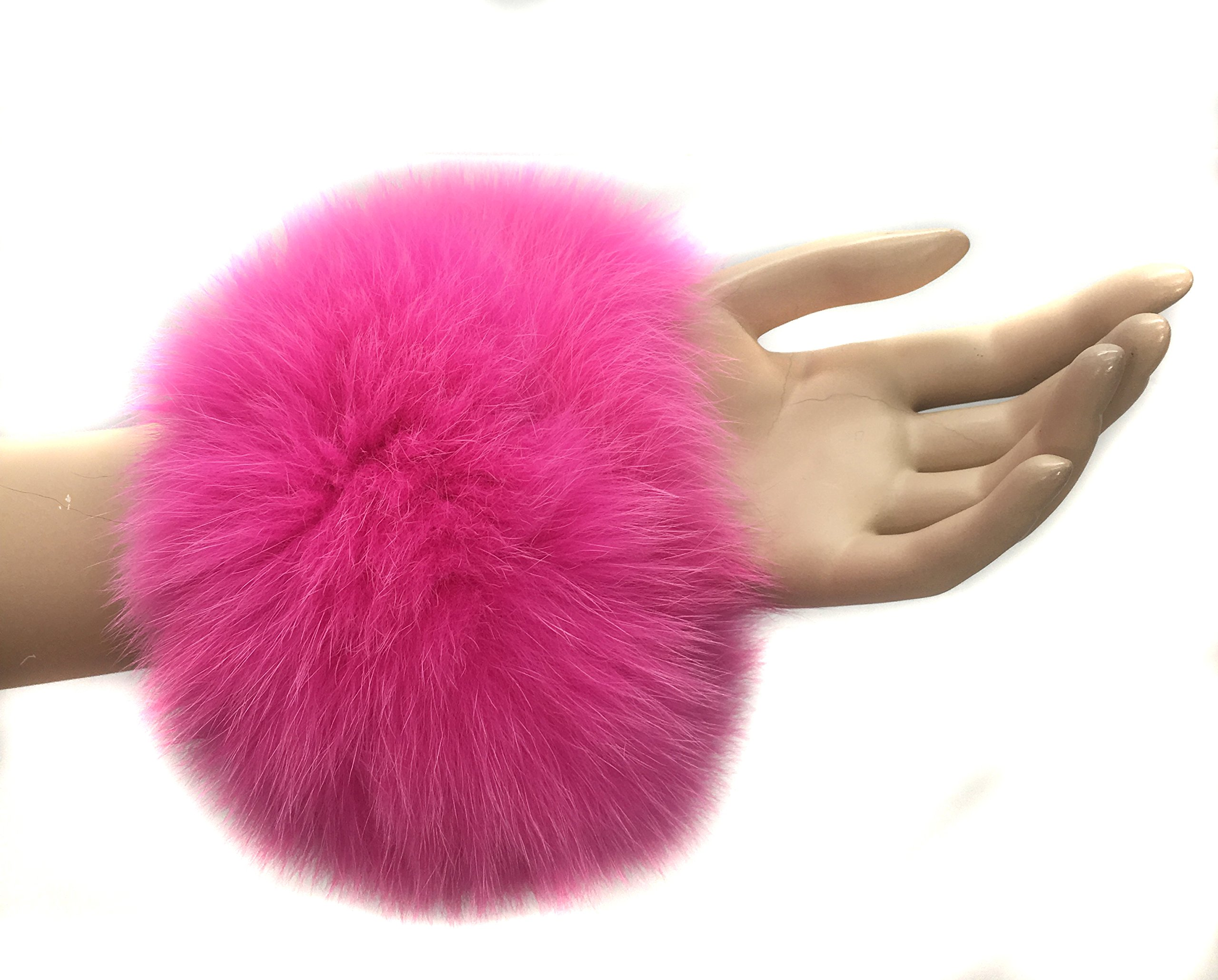 Hima 100% Fox Fur Slap Cuff (Hot Pink)
