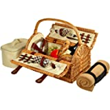 Picnic at Ascot Sussex Picnic Basket for 2 with Blanket, Wicker/London Plaid