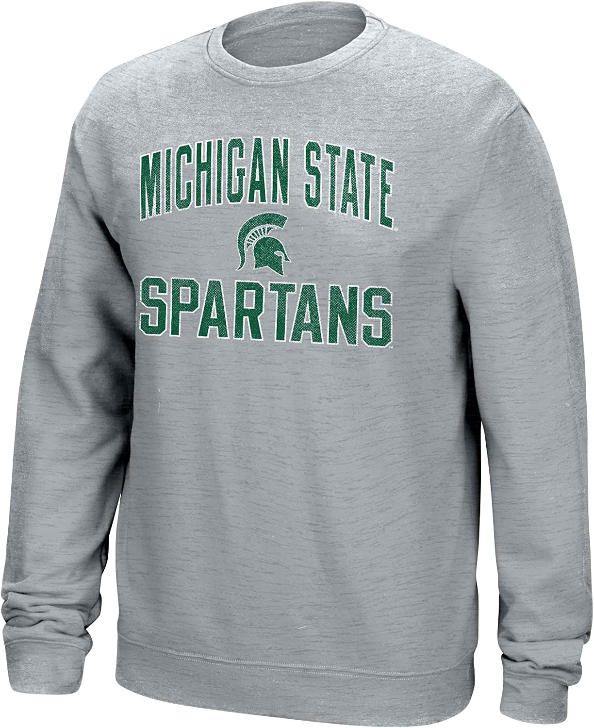 J America NCAA Michigan State Spartans Mens NCAA Mens Classic Arch Team Sweatshirt Large Light Heather