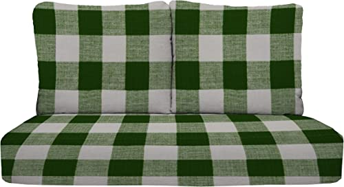 RSH D cor Indoor Outdoor Deep Seating Set 1-Loveseat: 46″x26″x5″ 2-Back Pillows: 25″x21″ Replacement Cushions Pillow Patio Home Furniture Green Buffalo Plaid