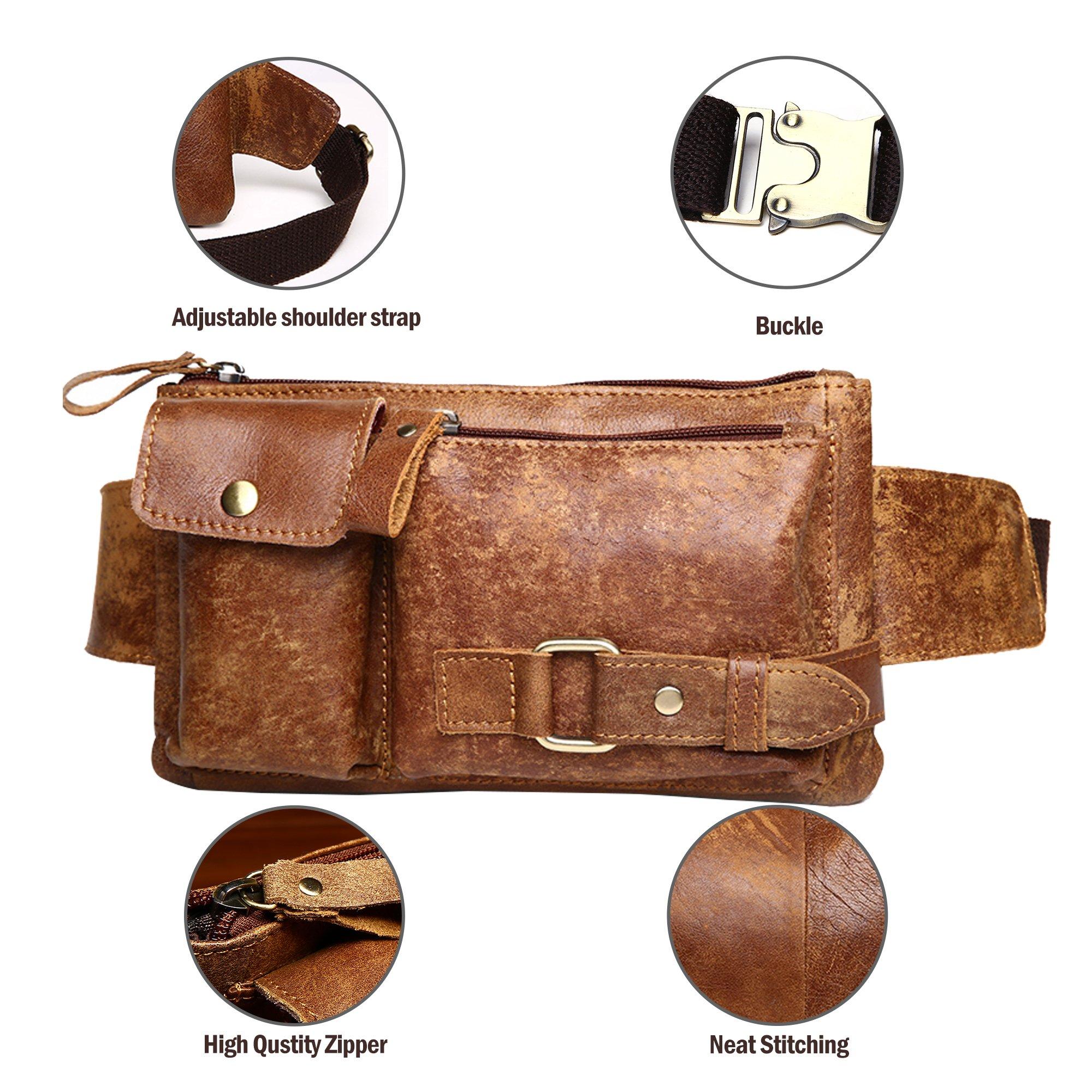 0125d70294 BISON DENIM Leather Waist Pack Fanny Pack Men's Hip Purse Travel ...