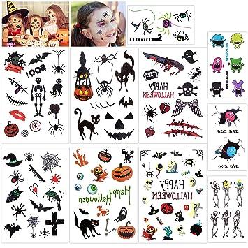 ec57c79d34244 Amazon.com : Konsait Halloween Temporary Tattoos Bulk Monster Pumpkin  Tattoos Party Favor Accessory for Kids Children (113 Designs) : Beauty