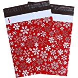 10x13 100-Pack Winter Snowflakes Designer Poly Mailers, Ohuhu Christmas Shipping Envelope Mailer Bags Sealed Christmas Holiday Gifts Boutique Custom Bag Xmas Packages with Self Adhesive Strip, Red