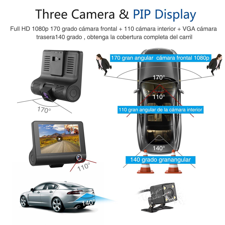 Cámara Dash Cam Tres Lentes 1080P, SENDOW Dash Cámara De Coche Pantalla De 4 Pulgadas Dashboard Cámara con Grabación WDR, Sensor G, Monitoreo de ...